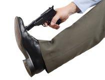 不要在脚射击自己 免版税库存照片