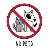 不要导航宠物标志标志 乱画手图画 在白色背景和狗隔绝的没有猫 皇族释放例证