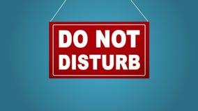 不要干扰标志-在蓝色背景隔绝的红色旅馆门报警信息 茴香酒 皇族释放例证