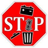 不要投掷在垃圾的用完的电池 库存图片