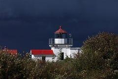 不要指向点灯塔在威胁的天空下 免版税库存图片