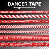 不要输入,危险 安全检疫红色和白色磁带 在透明背景 也corel凹道例证向量 皇族释放例证