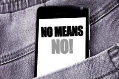 不要递文字文本说明启发显示没有的手段 书面的中止反强奸口号的企业概念流动手机wi 库存图片