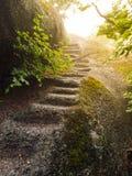 不规则的自然步在花岗岩岩石雕刻了 免版税图库摄影
