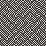 不规则的迷惑的线 黑色模式无缝的向量白色 库存例证
