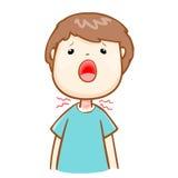 不适的人喉咙痛动画片 免版税图库摄影