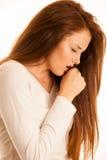 不适的妇女咳嗽流感热病 库存照片