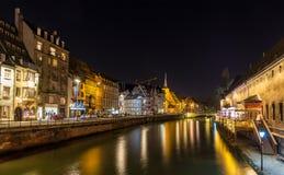 不适的河在史特拉斯堡-阿尔萨斯,法国 图库摄影