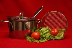 不锈钢和蕃茄在红色背景 免版税库存图片