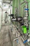 不锈钢管道和控制设备系统过滤的设备 库存图片