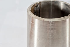 不锈钢管道的圆锥形转折  免版税库存照片