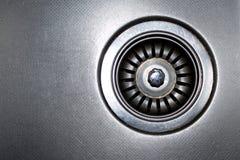 不锈钢水槽塞孔 图库摄影