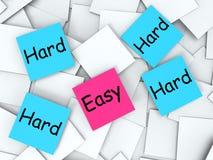 不费力容易的坚硬便条纸的手段或 库存例证