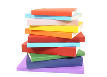 不整洁堆五颜六色的平装书 免版税库存图片
