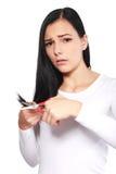 不满意对她易碎的头发 免版税库存图片