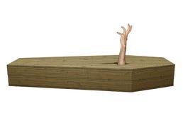 不死蛇神手发生木棺材在万圣夜 免版税库存图片