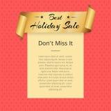不Best Holiday Sale Poster小姐金黄丝带 免版税库存图片