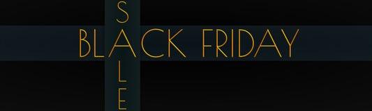与'黑在金子'一副横幅写的星期五'&'销售的 免版税库存图片