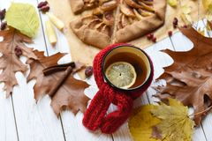 与一个上釉的杯子的一张明亮的照片热的茶、苹果饼、秋叶、肉桂条和红色编织了在白色的围巾 免版税图库摄影