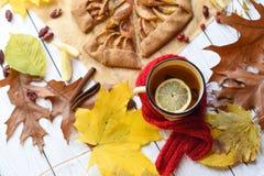 与一个上釉的杯子的一张明亮的照片热的茶、苹果饼、秋叶、肉桂条和红色编织了在白色的围巾 免版税库存图片