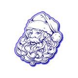 与一个丰富的胡子和帽子的顶头剪影圣诞老人 库存图片