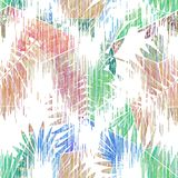 与一个五颜六色的水彩作用的无缝的热带样式 图库摄影