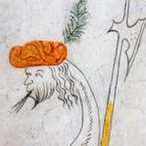 与一个人头的幻想鸟,古老中世纪壁画 免版税库存图片