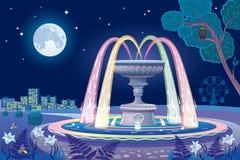 与一个光亮喷泉和月亮的美好的夜风景 库存图片