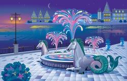 与一个光亮喷泉的美好的夜风景在waterf 库存照片