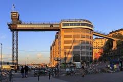 与一个全景大阳台的斯德哥尔摩,瑞典-凯瑟琳推力在S 免版税库存照片