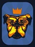 与一个冠的手拉的现实狗在葡萄酒背景中 向量例证