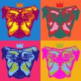 与一个冠的现实狗在流行艺术样式 库存例证