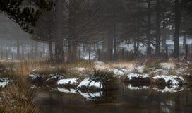 与一个冻湖a Troodos山的,塞浦路斯的田园诗冬天风景 库存照片