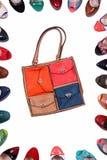 与一个原始的设计的女性袋子在丝毫 免版税图库摄影