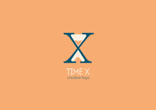 与一个双重意思、信件x和滴漏的商标 免版税库存照片