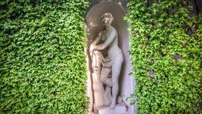 与一个古色古香的雕象的树篱 库存照片