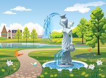 与一个喷泉女孩的风景有花瓶的 免版税图库摄影