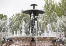 与一个喷泉的剧院正方形在中心 雕刻家E Vucetic 免版税图库摄影