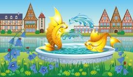 与一个喷泉的风景有金鱼的 库存照片