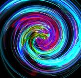 与一个复杂丝的结构的Abstractfu蓝色螺旋在黑背景 分数维艺术图表 库存图片