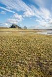 与一个大谷仓的部分地水灾地区在背景中 图库摄影