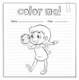 与一个女孩的着色活页练习题 库存照片