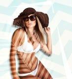 与一个完善的海滩身体的模型 免版税库存图片