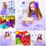 与一个小女孩的圣诞节照片 免版税库存照片