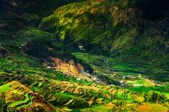 与一个小小屋的传统米大阳台在一座山的边缘峭壁在美丽如画的自然的背景中 图库摄影