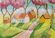 与一个小村庄的幻想农村场面 免版税库存照片