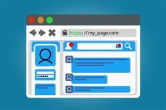 与一个开放社会网络网页的互联网浏览器窗口 背景查出的白色 图库摄影