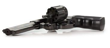 与一个开放鼓的黑左轮手枪 免版税图库摄影