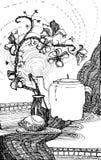 与一个开花的分支和茶壶的静物画 向量例证