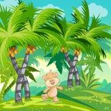 与一个愉快的玩具熊的儿童的例证在密林 库存照片